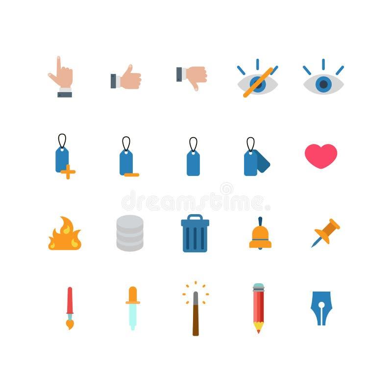 Icono móvil del app del web plano del vector: corazón similar de la etiqueta del tacto de la aversión stock de ilustración