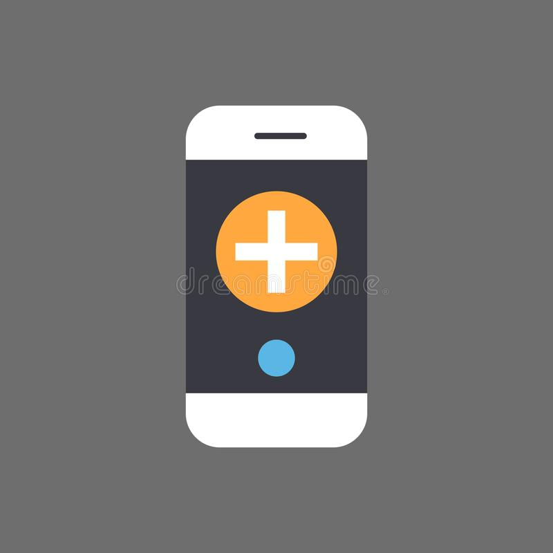 Icono móvil del App del tratamiento médico con la medicina en línea del teléfono elegante ilustración del vector