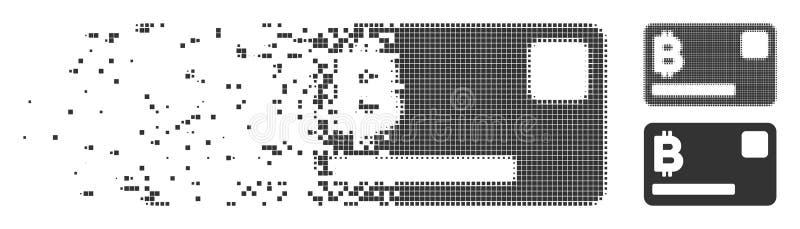 Icono móvil del pixel de la tarjeta de crédito de Bitcoin stock de ilustración