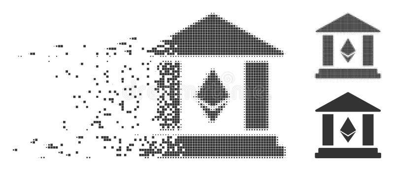 Icono móvil del pixel del edificio de banco de Ethereum ilustración del vector