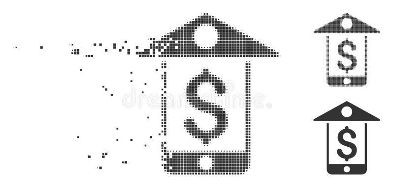 Icono móvil del tono medio del pixel del banco móvil libre illustration