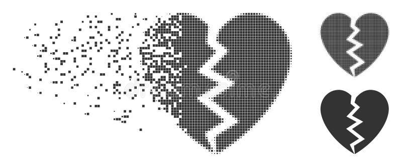 Icono móvil del tono medio del pixel del corazón quebrado ilustración del vector
