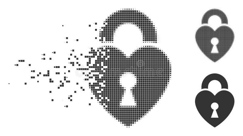 Icono móvil del tono medio del pixel de la cerradura del corazón ilustración del vector