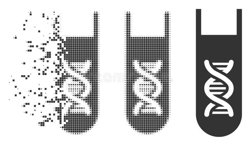 Icono móvil del tono medio del pixel del tubo de ensayo genético del análisis ilustración del vector