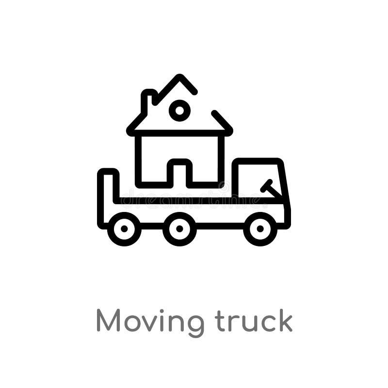 icono móvil del vector del camión del esquema línea simple negra aislada ejemplo del elemento del concepto de las propiedades inm stock de ilustración
