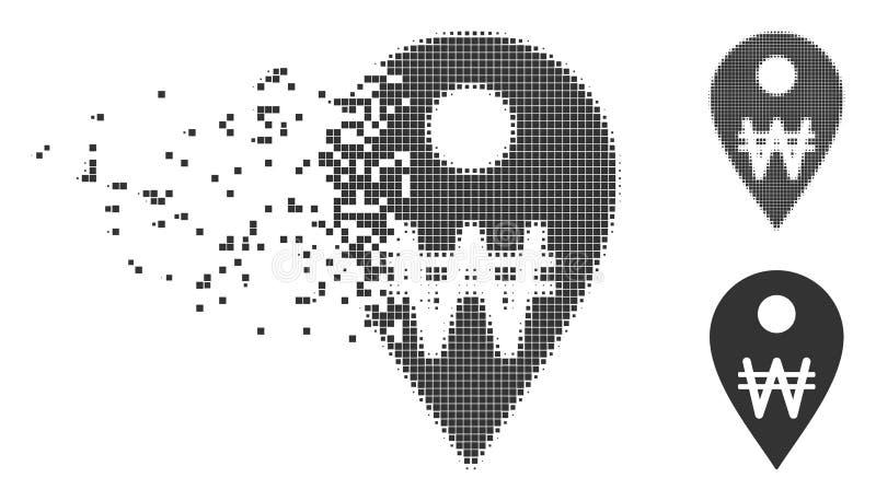 Icono móvil ganado coreano del tono medio del pixel del marcador del mapa libre illustration