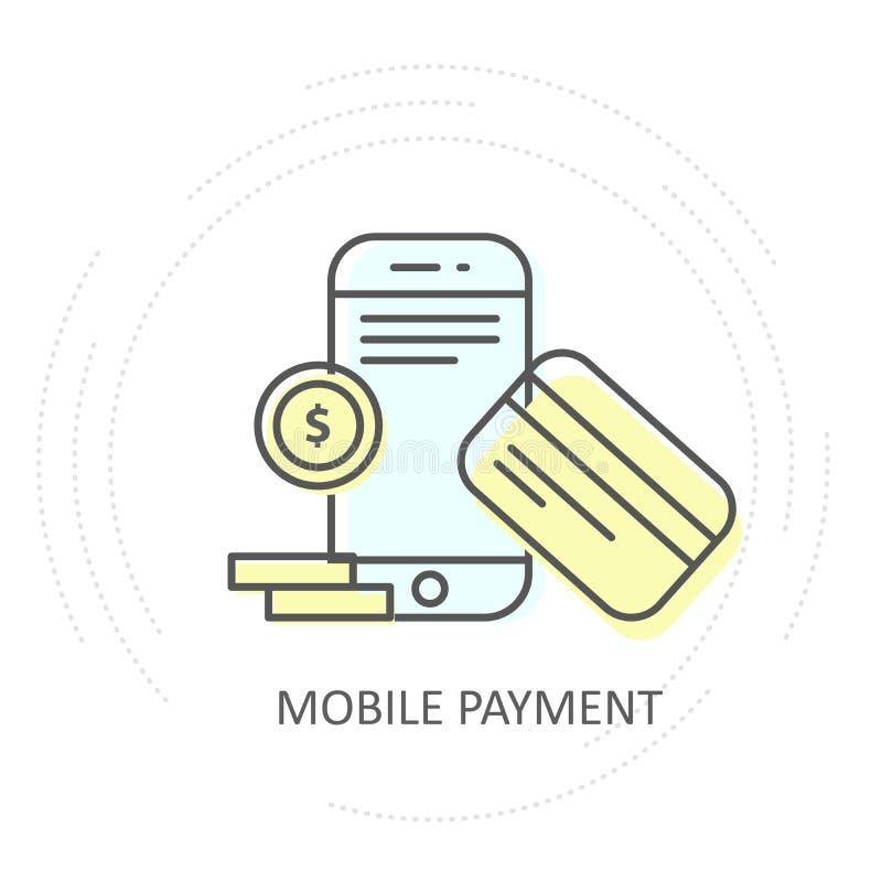 Icono móvil inalámbrico del pago de NFC - smartphone con la tarjeta y las monedas de crédito libre illustration