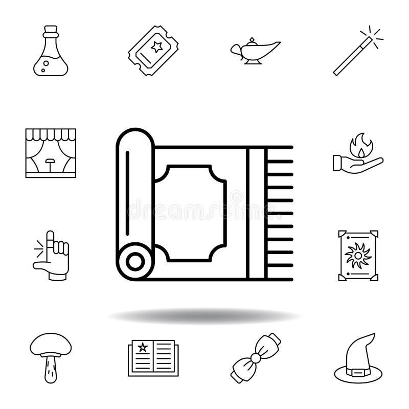 Icono m?gico del esquema de la alfombra elementos de la línea mágica icono del ejemplo las muestras, símbolos se pueden utilizar  ilustración del vector