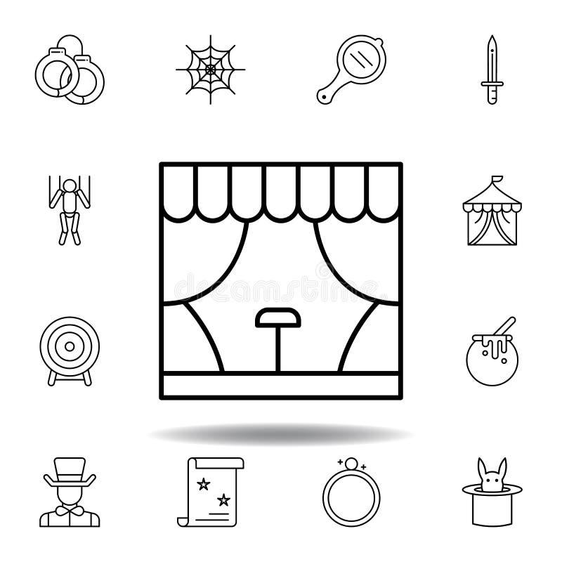 Icono m?gico del esquema del edificio de la etapa elementos de la línea mágica icono del ejemplo las muestras, símbolos se pueden ilustración del vector