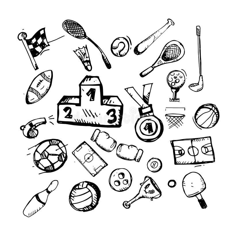 icono Mano drenada garabato temático del deporte Ejemplo plano del vector En el fondo blanco stock de ilustración