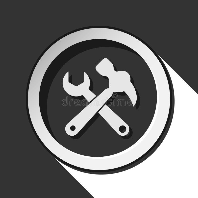 Icono - martillo de garra con la llave inglesa y la sombra libre illustration