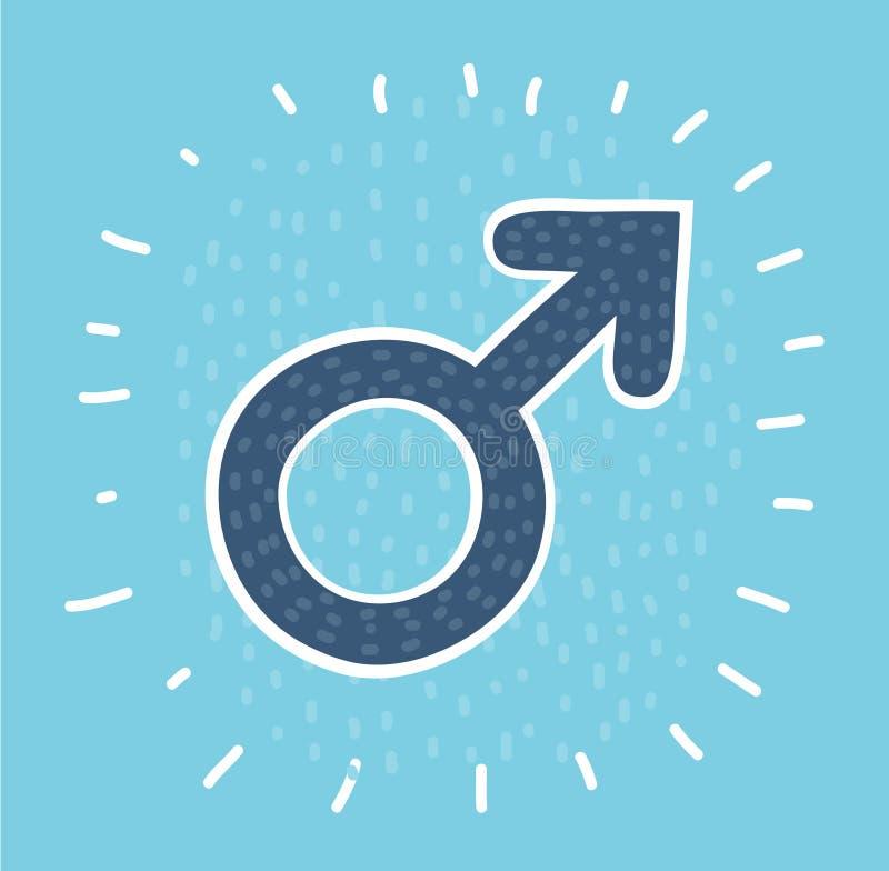 Icono masculino del círculo del sex symbol stock de ilustración