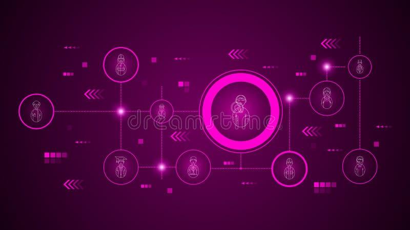 icono masculino del centro de atenci?n telef?nica del empleado del avatar De sistema de los avatares ilustración del vector