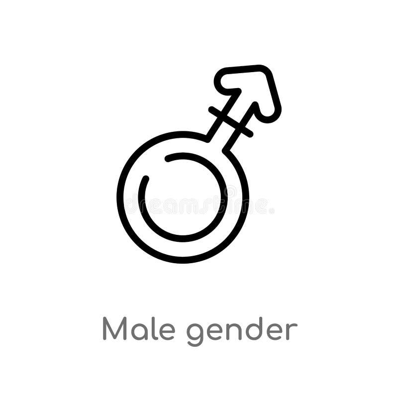 icono masculino del vector del género del esquema línea simple negra aislada ejemplo del elemento del concepto de las muestras va stock de ilustración