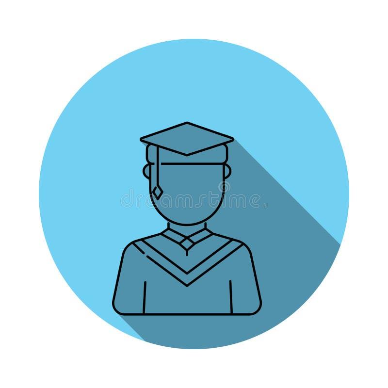 Icono masculino graduado de los avatares Los elementos del avatar en azul colorearon completamente el icono Icono superior del di ilustración del vector