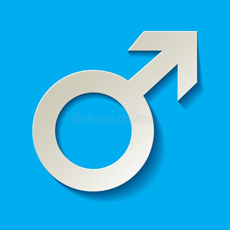 Icono masculino - símbolo del vector de Marte con blanco de la sombra en un fondo azul stock de ilustración