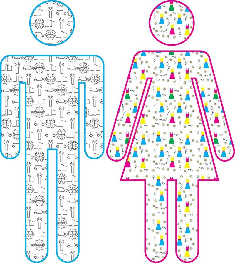 Icono masculino y femenino stock de ilustración