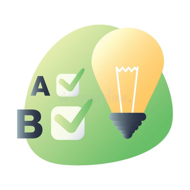 Icono material del diseño para probar, concepto de entrenamiento Símbolo del diseño web de UI UX para los usos stock de ilustración