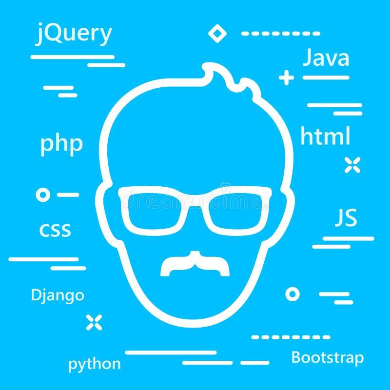 Icono mayor de la cabeza del codificador con los lenguajes de programaci?n para el develo del web stock de ilustración