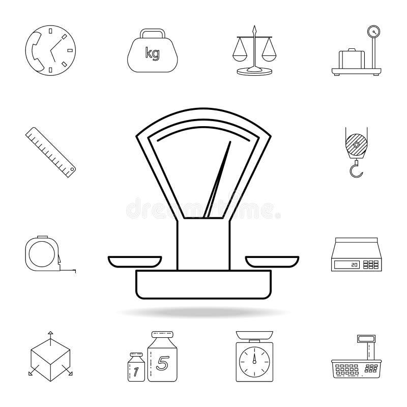 Icono mecánico de las escalas Sistema detallado de iconos de los instrumentos de medida Diseño gráfico superior Uno de los iconos ilustración del vector