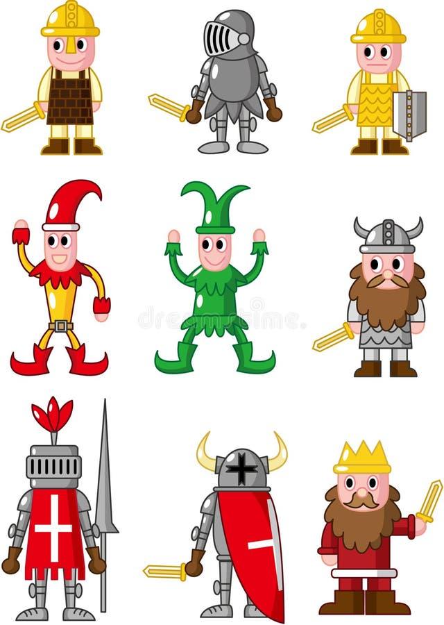 Icono medieval de la gente de la historieta libre illustration
