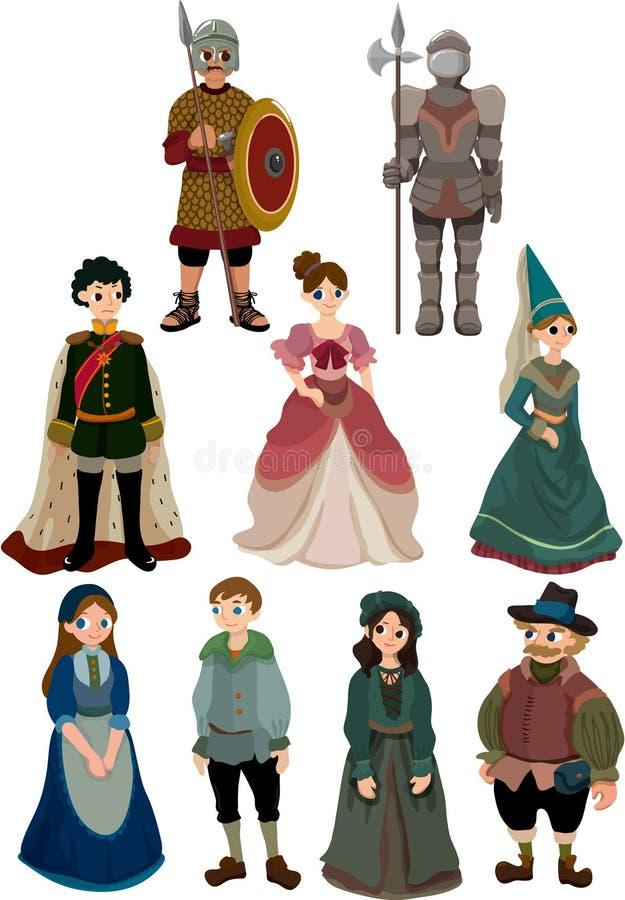 Icono medieval de la gente de la historieta stock de ilustración