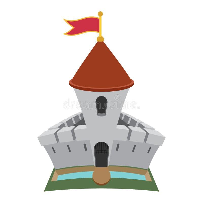 Icono medieval de la historieta de la fortaleza del castillo ilustración del vector