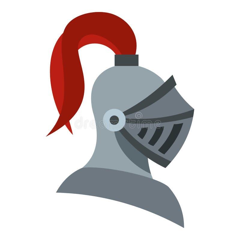 Icono medieval del casco del caballero, estilo plano stock de ilustración