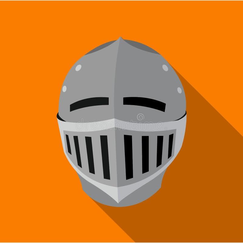 Icono medieval del casco plano Solo icono de la munición grande, brazos del arma fijados ilustración del vector