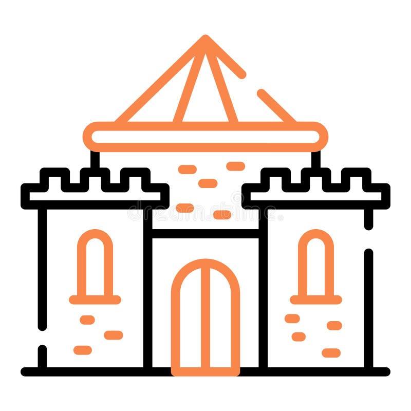 Icono medieval del castillo, estilo del esquema stock de ilustración