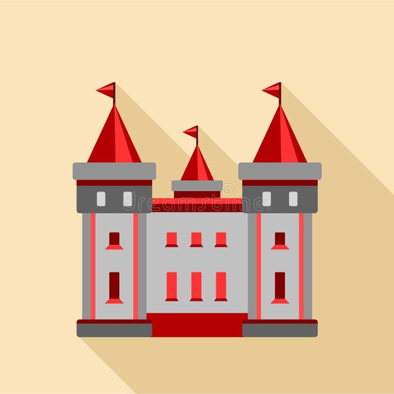 Icono medieval del castillo, estilo plano ilustración del vector