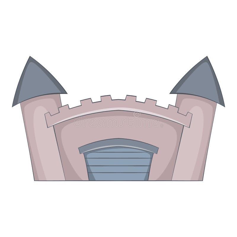 Icono medieval fortificado del castillo, estilo de la historieta ilustración del vector