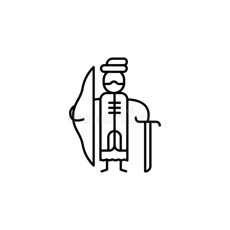 icono mercantil antiguo Elemento de la gente en la línea icono del viaje Línea fina icono para el diseño y el desarrollo, desarro stock de ilustración