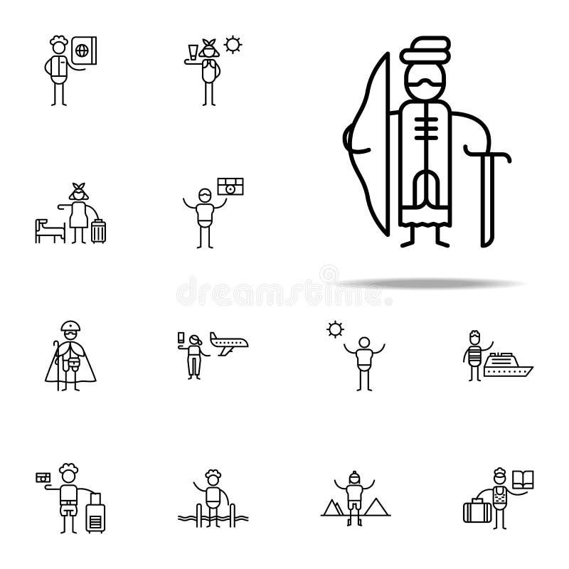 icono mercantil antiguo Sistema universal de los iconos del viaje para el web y el móvil stock de ilustración