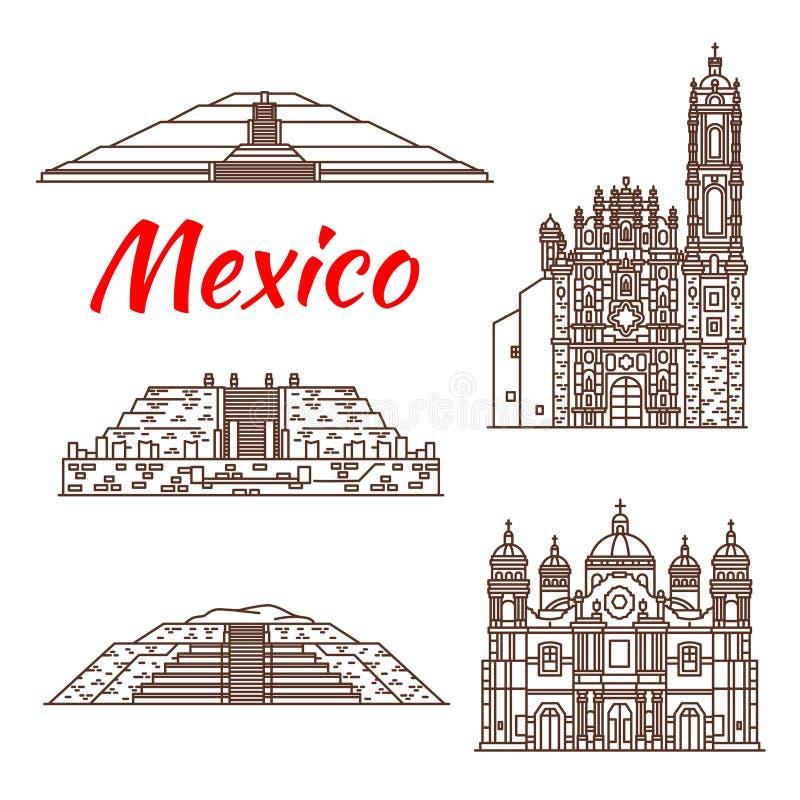 Icono mexicano de la señal del viaje de la pirámide y de la iglesia ilustración del vector