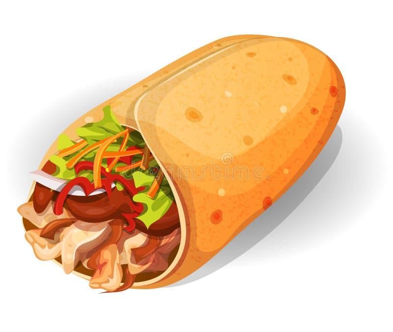 Icono mexicano del Burrito ilustración del vector