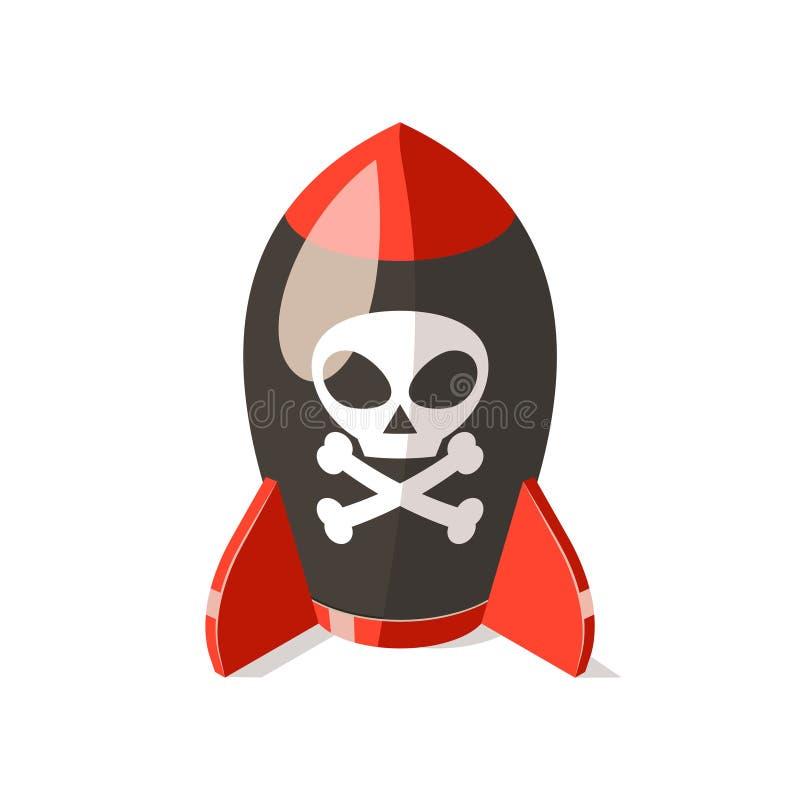 Icono militar de la bomba del mortero aislado en blanco stock de ilustración