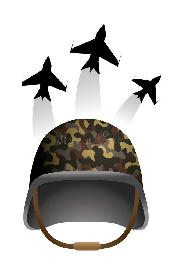 Icono militar del casco stock de ilustración