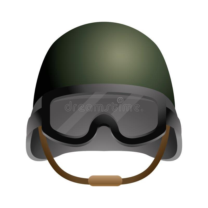Icono militar del casco ilustración del vector