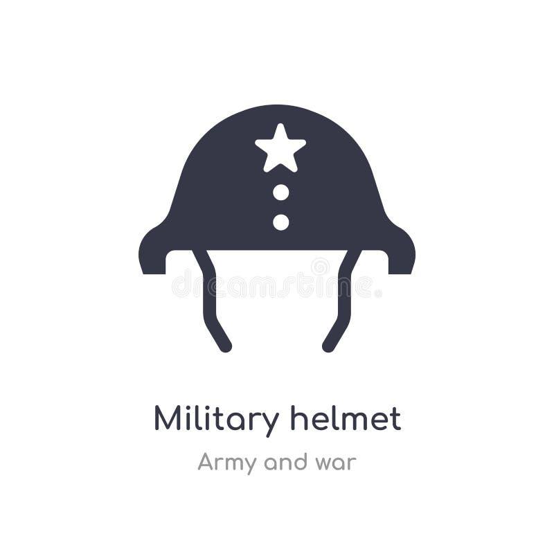 Icono militar del casco ejemplo militar aislado del vector del icono del casco de la colección del ejército y de la guerra editab stock de ilustración