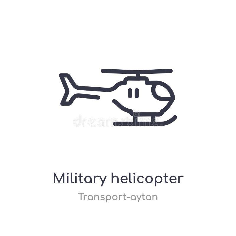 icono militar del esquema del helicóptero l?nea aislada ejemplo del vector de la colecci?n del transporte-aytan militares finos e stock de ilustración
