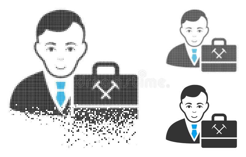 Icono minero de semitono de Accounter del pixel del polvo con la cara ilustración del vector
