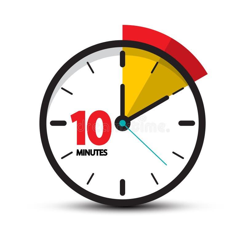 10 icono minucioso del vector diez de la cara de reloj de los minutos ilustración del vector