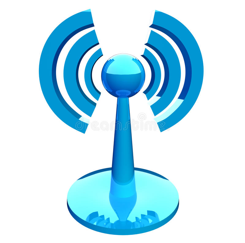 Icono moderno azul (sin hilos) de Wifi stock de ilustración
