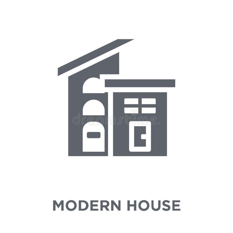 icono moderno de la casa de la colección de las propiedades inmobiliarias stock de ilustración