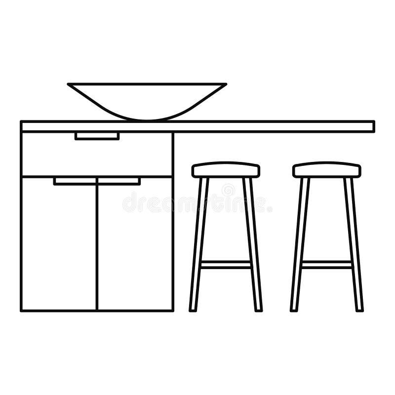 Icono moderno de la tabla de cocina, estilo del esquema stock de ilustración