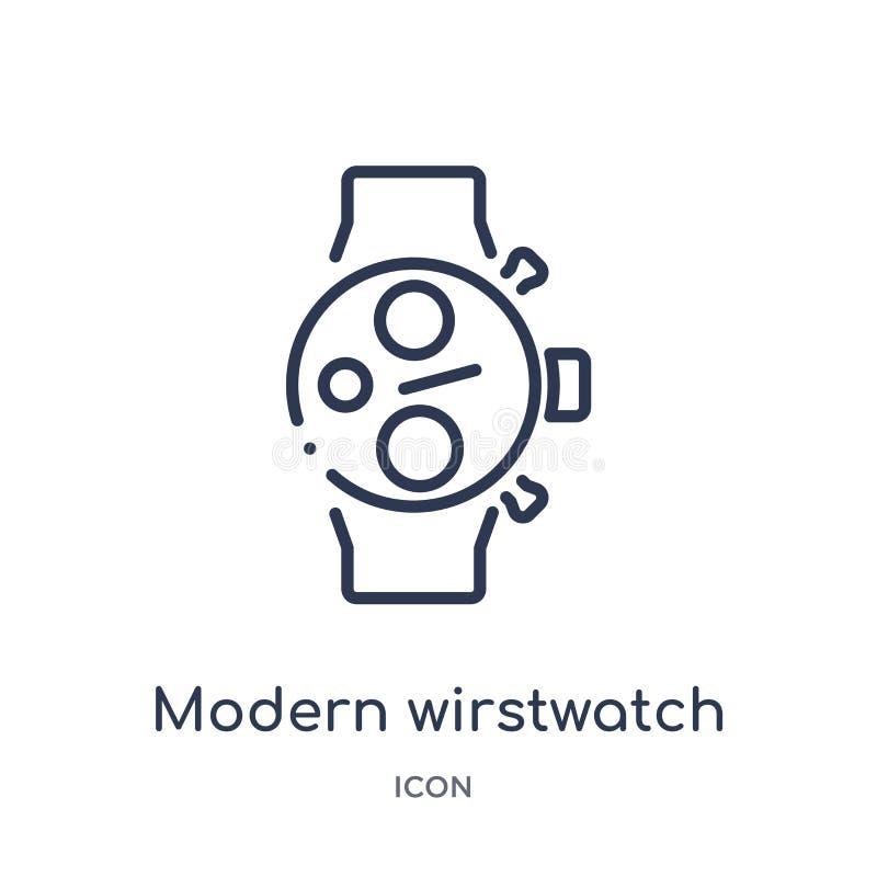 Icono moderno linear del wirstwatch de la colección del esquema del terminal de aeropuerto Línea fina vector moderno del wirstwat stock de ilustración