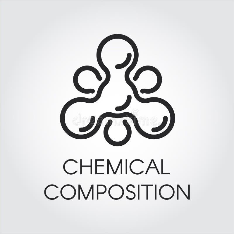 Icono molecular químico en estilo linear Logotipo del contorno de la estructura del átomo Pictograma negro del vector de la simpl ilustración del vector
