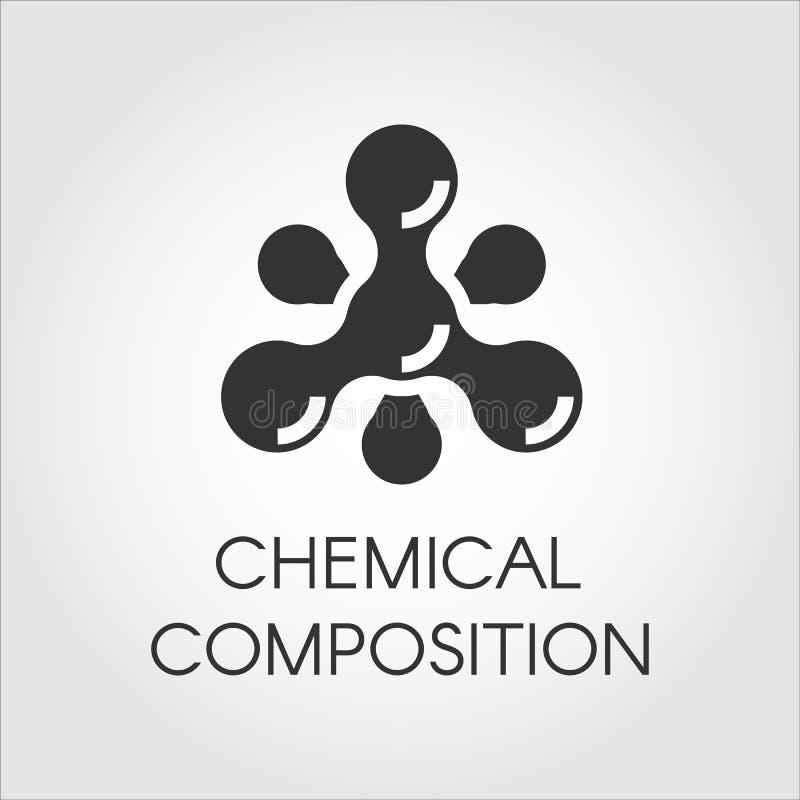 Icono molecular químico en estilo plano Composición de la estructura del átomo Pictograma negro del vector de la simplicidad Etiq stock de ilustración