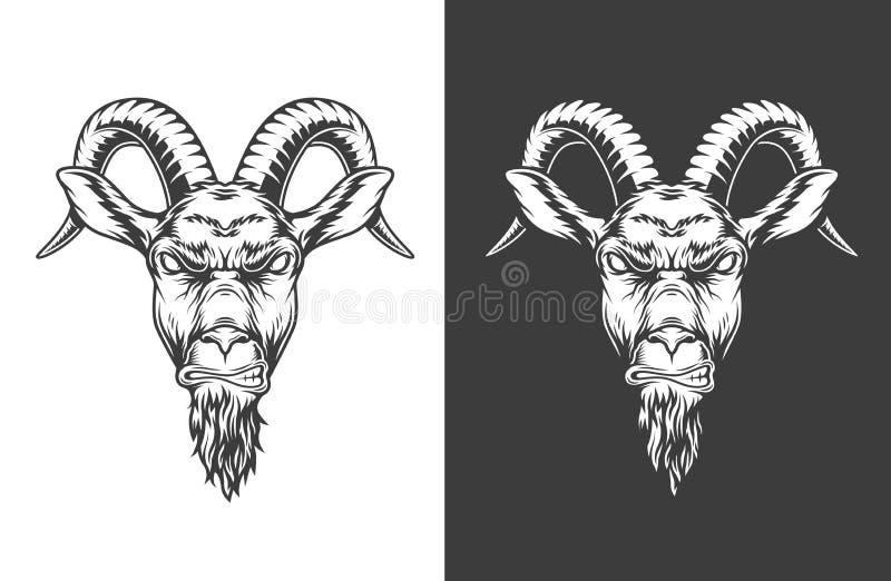 Icono monocromático de la cabra ilustración del vector